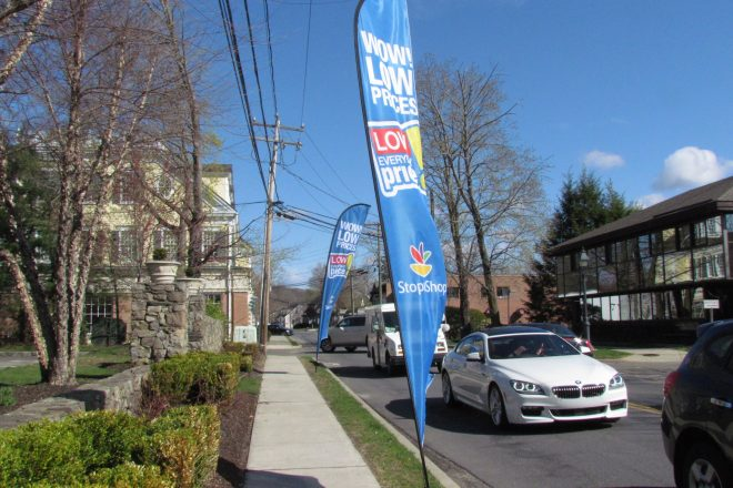 Wilton Says 'Stop!' to Stop & Shop Flags on River Rd.