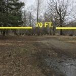The proposed location for the relocation of the frame from 211 Hurlbutt. The lot is only 70 ft. deep, and so variances are being sought.