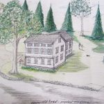 The architect's rendering of the proposed house to be built on Honey Hill Rd.