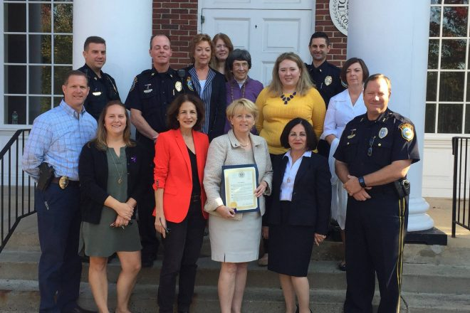 Wilton 1st Sel. Proclaims Oct. 'Dom. Violence Awareness Month' and Police Raise Money