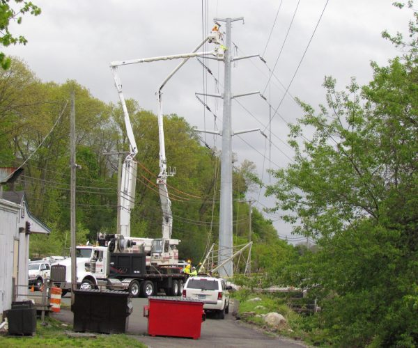A monopole tower installed two years ago in Wilton Center. This is the type of new tower that will be installed along Pimpewaug Rd.