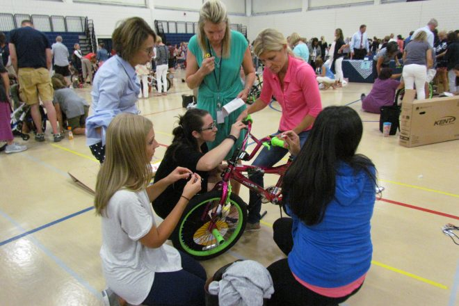 Bike-Building (for Charity!) and Team Building at Teacher Convocation [PHOTOS]