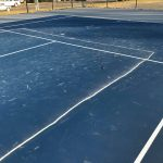 chalk pickle ball lines on new courts 2