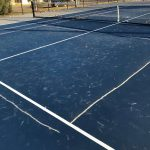chalk pickle ball lines on new courts 3