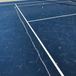 chalk pickle ball lines on new courts 4