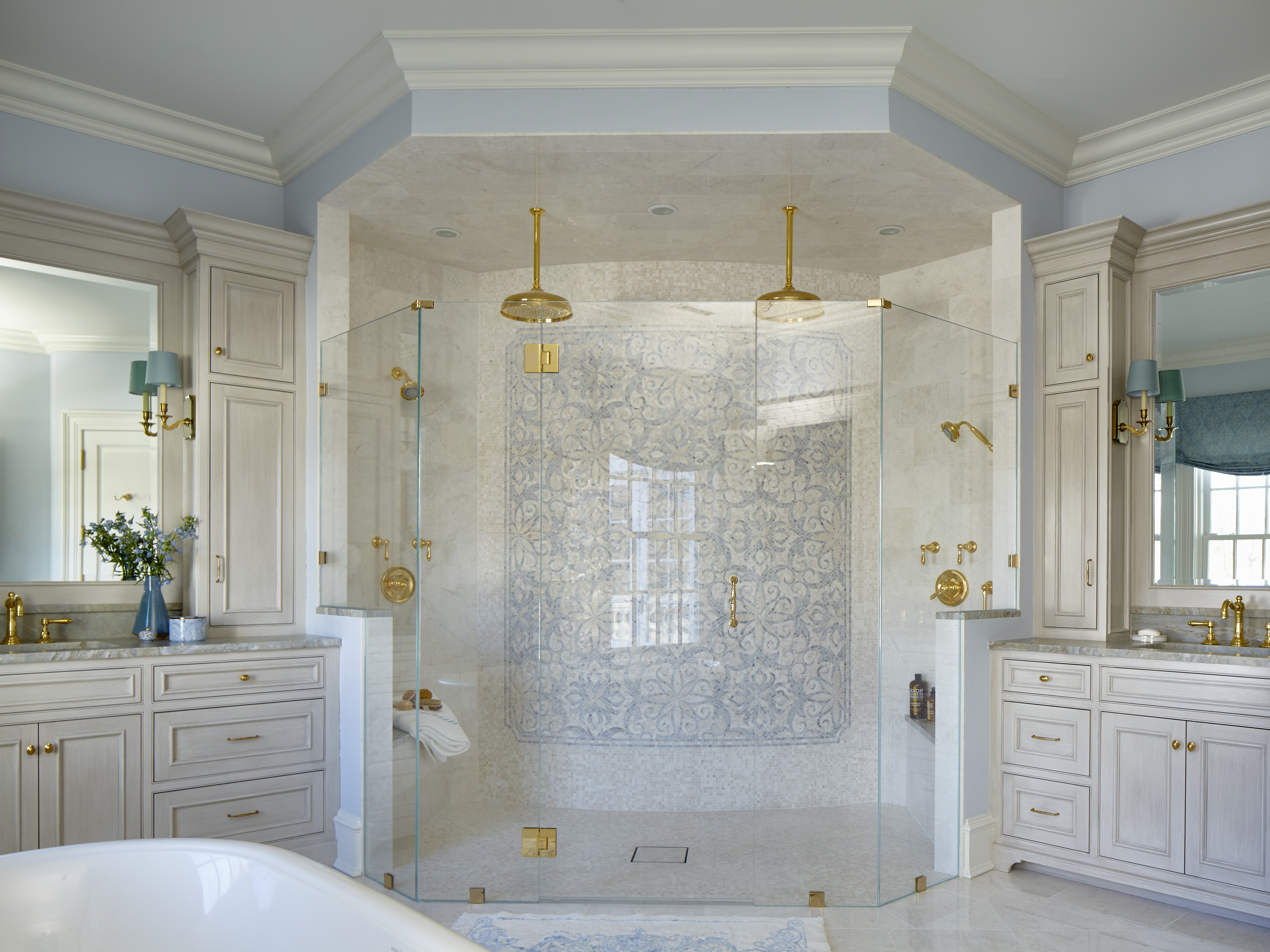 The Look Features Wood Cabinets, Painted Walls, Brushed Nickel Fixtures,  And A Color Palette Of White, Gray, And Blue. Contemporary, Which Has  Quartz ...