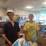 Ian Monro, Ali Gance work in the Food Pantry
