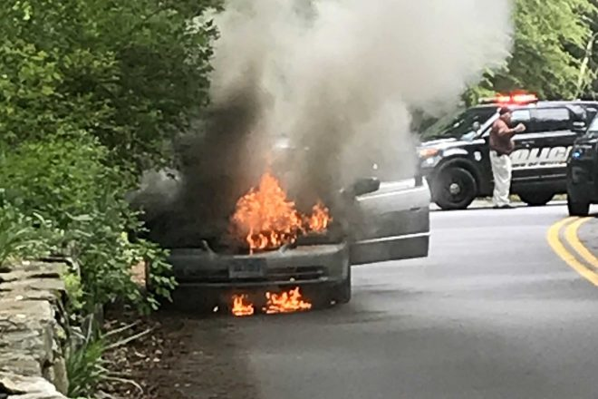 UPDATE: Video Captures Wilton Firefighters Extinguishing Car Fire [VIDEO]