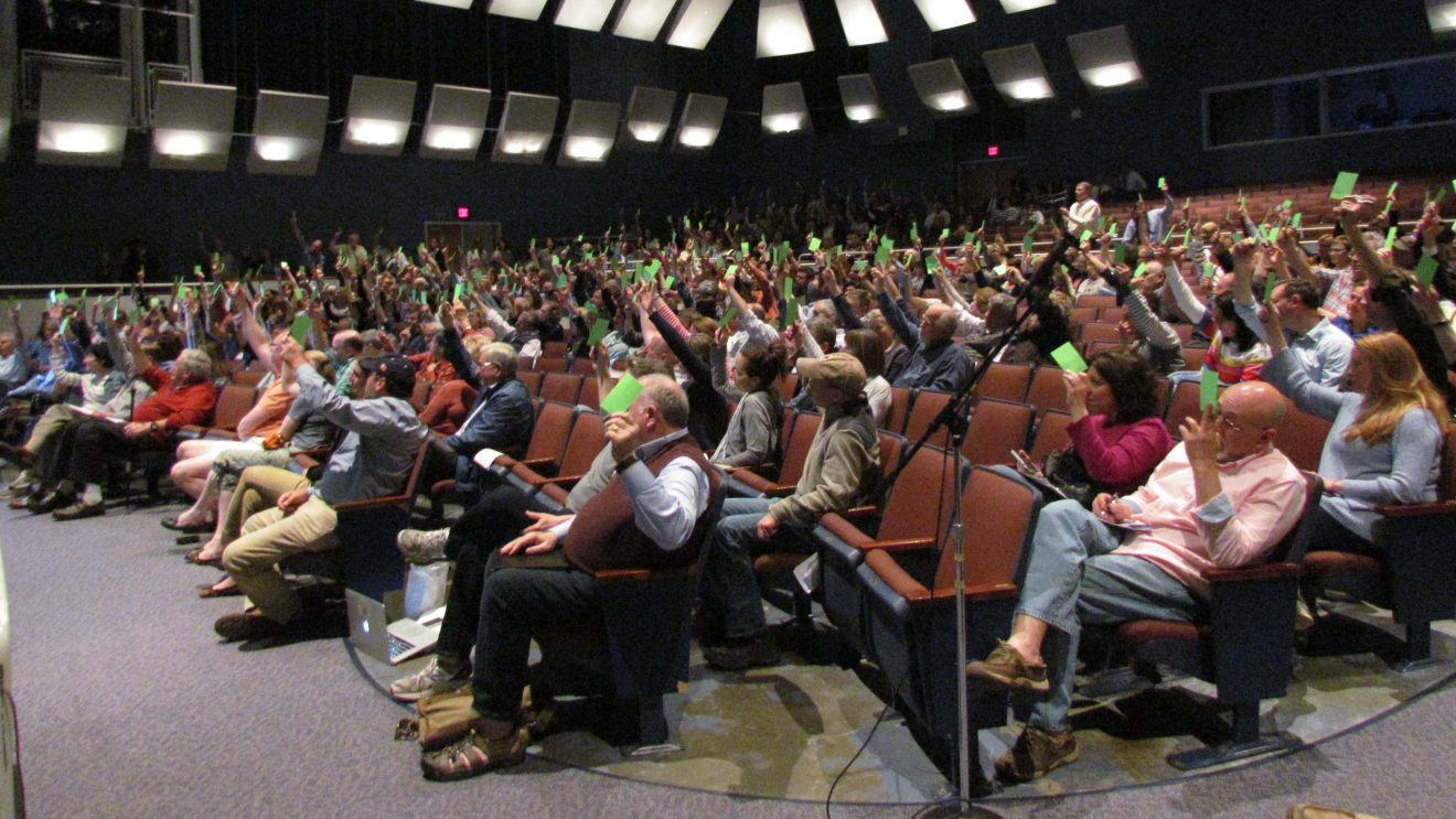 Orderly, Packed Town Meeting Sends Proposed Budget Unchanged to Voters