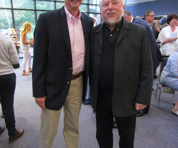 David Clune and Zellner, standing in the Zellner Gallery at the Clune auditorium