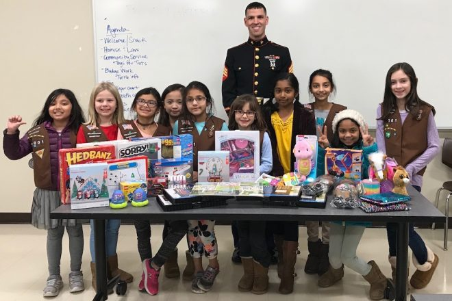 Photo of the Day:  Brownie Troop Collect for Toys-for-Tots