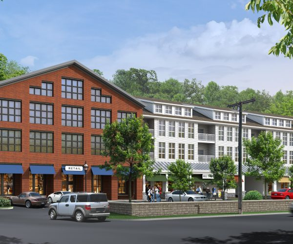 The most recent rendering of the proposed Wilton Heights mixed use development