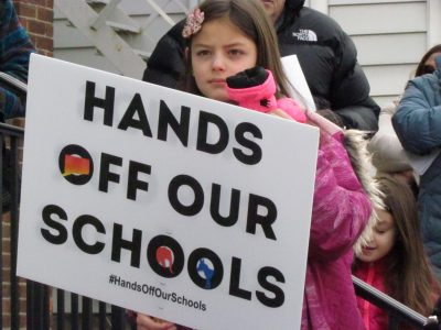 2-23-19 Hands Off Our Schools rally featured students advocating against school regionalization