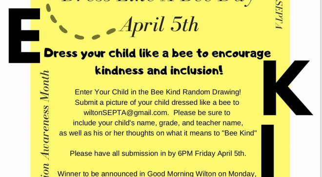 """Miller-Driscoll School Dress Like a Bee for """"Bee Kind"""" Day for Inclusion and Diversity Awareness Month"""