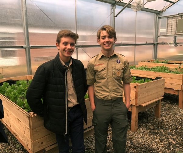 Dean Kaduboski (pictured right) created the raised beds as part of his Eagle Scout project. He was helped by Ian Kineon and other members of Boy Scout Troop 20.
