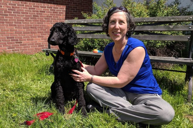 Principal Lauren Feltz Introduces Therapy Dogs to Middlebrook School