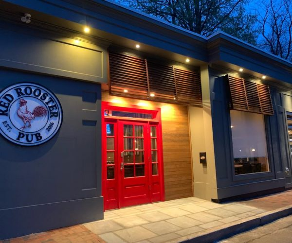 red rooster pub exterior night