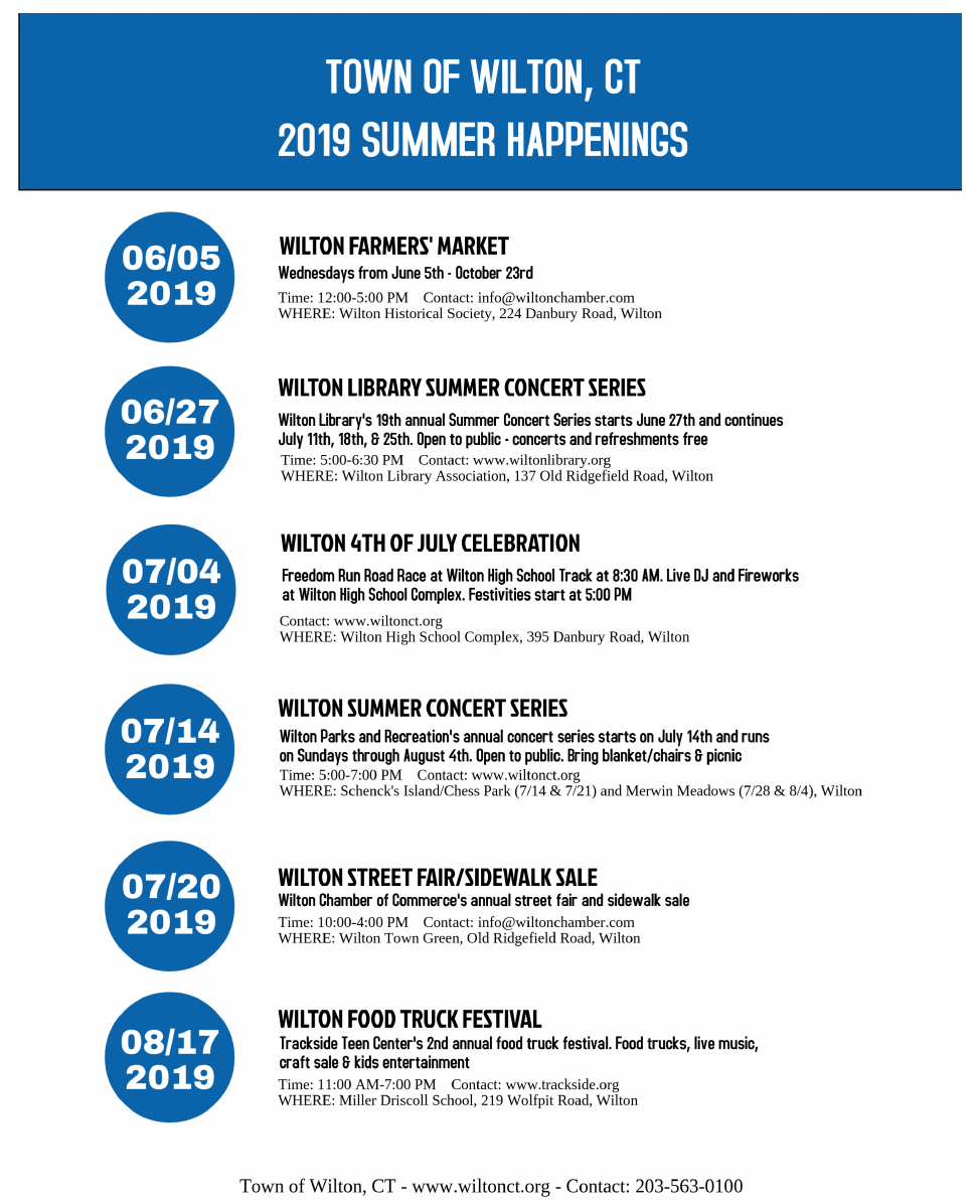 Fireworks, Food Truck Festival and Outdoor Concerts: Wilton Announces 2019  Summer Schedule