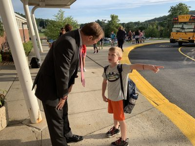 Superintendent Kevin Smith welcomes students back to Cider Mill on the first day of the 2019-2020 school year.