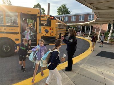 School Resource Officer Diane MacLean of the Wilton Police Department was on hand as students returned to school for the 2019-2020 school year.