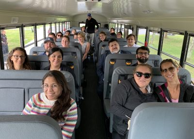 M-D Kindergarten parents volunteer to ride the buses on the first week of school to help the first-timers.