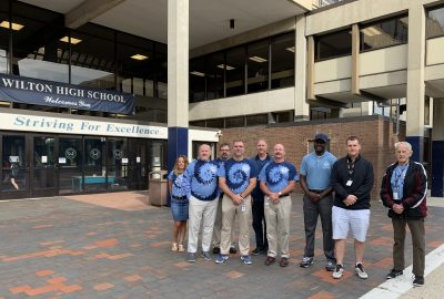 Administrators and staff at Wilton High School on the first day of the 2019-2020 school year.