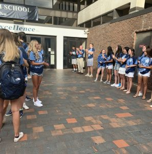Link Crew Leaders, the upperclass student mentors, get ready to welcome back students at Wilton High School.
