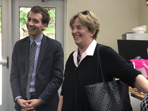 Will Haskell with Wilton Y board member Judy Higby