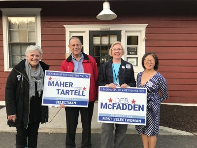 Democratic candidates campaigned at the Wilton Train Station last Monday morning, Sept. 23. (l-r) Ceci Maher, Ross Tartell, Deb McFadden and Jung Soo Kim.
