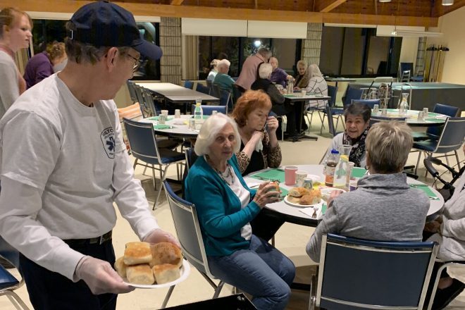 Serving Dinner to Ogden House Better than Emergency Calls There for Wilton Vol. Ambulance Corps