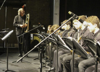 Chris Brubeck with WHS jazz students