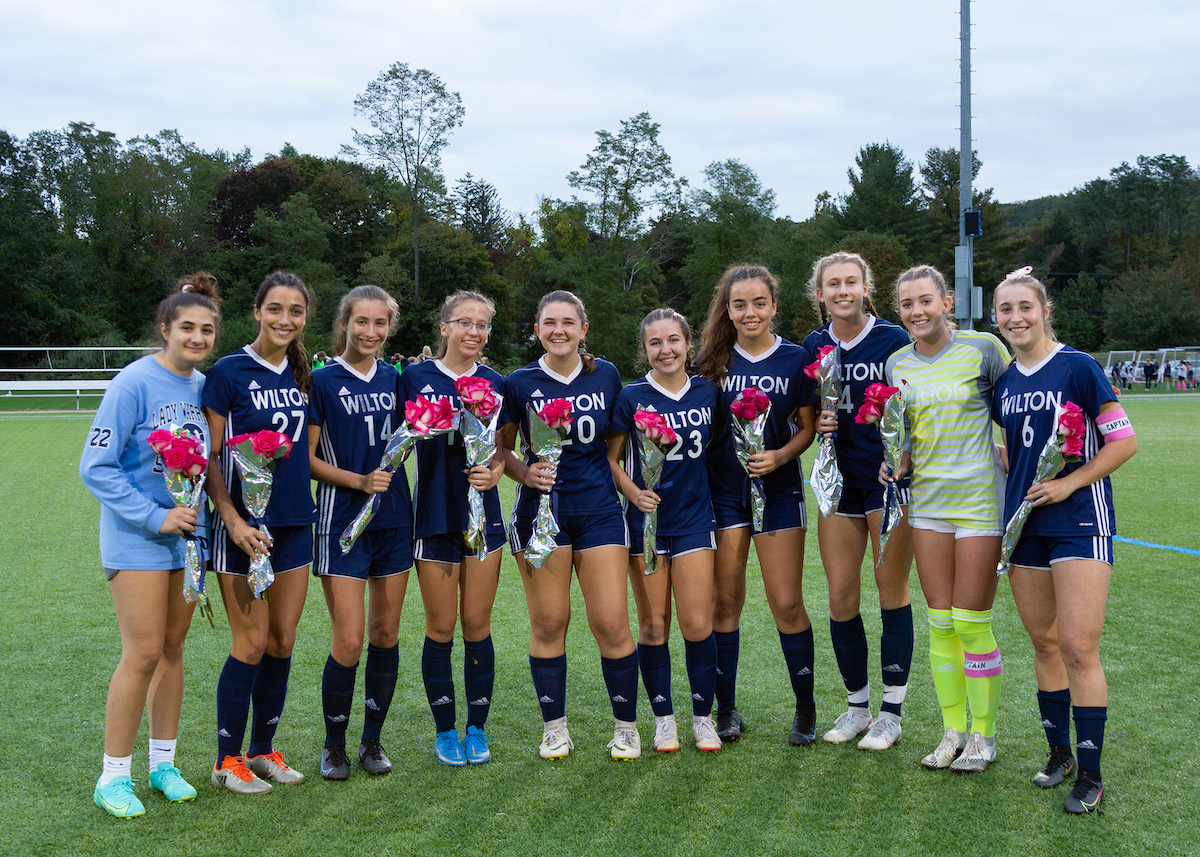 The 2021 WHS Girls Soccer seniors were honored Wednesday Night at Lilly Field before the game against Westhill. Wilton won 5-0.